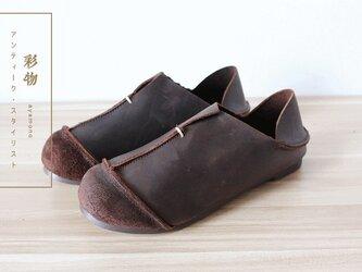 【受注製作】牛革縫製T字ぺたんこ靴 丸トウ 上質レザー KT3910の画像
