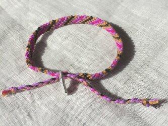 メンズ ミサンガ 紫・赤紫・黒・茶の画像