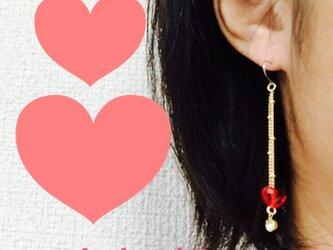 k18 heartチェーンピアスの画像