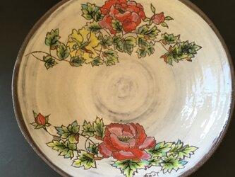 白化粧の器 大皿 牡丹の画像