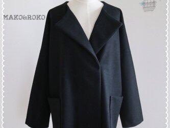 【ブラック】ウールポケット付きノーカラーコート♥の画像