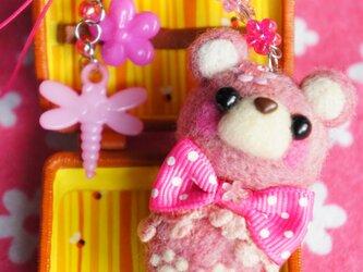 ピンクのくまちゃんストラップ☆の画像