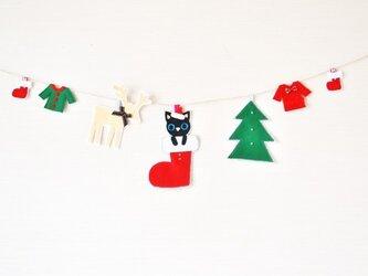 プレミアム★ブーツinねこさんのクリスマスガーランドの画像