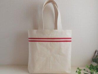 帆布 赤ライン トートバッグの画像