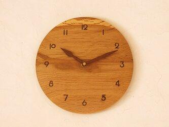 掛け時計 丸 楢材⑦の画像