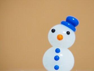 雪だるまのミニミニオブジェ 青ぼうしの画像