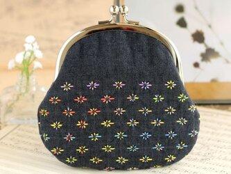 虹色小花のシンプルがま口の画像