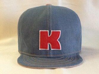 アルファベットキャップ デニム 『K』 大きめサイズ!の画像