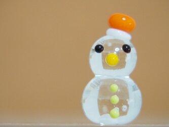 クリア雪だるまのミニミニオブジェ オレンジぼうしの画像