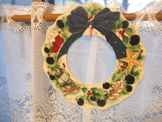 クリスマスリース(スノーマン)の画像