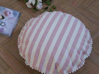 canvas stripes クッションセット pompon R(クッションカバー+ヌードクッション)の画像