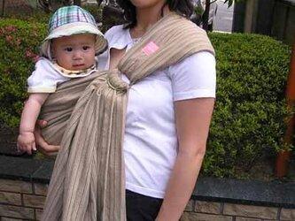 抱っこ紐 新生児 ベビースリング しじら織りスリング(モカベージュ系)の画像
