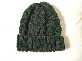 ニット帽 ツイードグリーン 男女兼用の画像