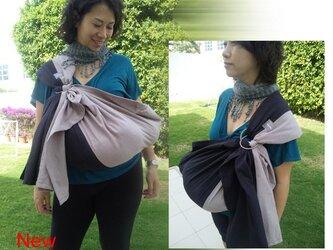 手紡ぎ手織りスリング2色切り替え(グレー×黒)オーガニックコットンの画像