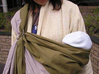 手紡ぎ手織りスリング2色切り替え(グレー×カーキ)オーガニックコットンの画像