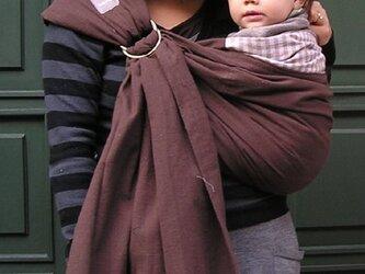 手紡ぎ手織りスリング(ブラウン)オーガニックコットンの画像