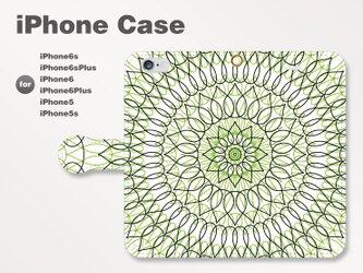 iPhone7/7Plus/SE/6s/6sPlus他 スマホケース 手帳型 北欧-花-フラワー グリーン緑2504の画像
