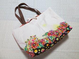 (特大)帆布のトートバッグ 猫×花柄(綾テープ付き)の画像