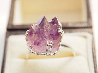 アメジストのお山に登ろう原石のリングの画像