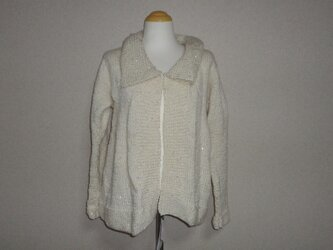 ホワイト*スパンコールのジャケット(カーデガン)の画像