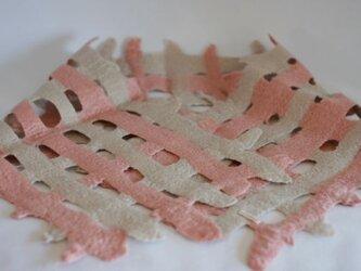 ami・フェルトマフラー(ピンク&淡グレー)の画像