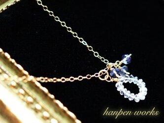【SALE】 14kgf 宝石質 レインボー ムーンストーン アイオライト ネックレスの画像