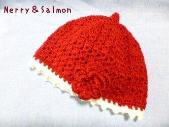 かぎ針編み*ニット帽子 子ども用 花の画像