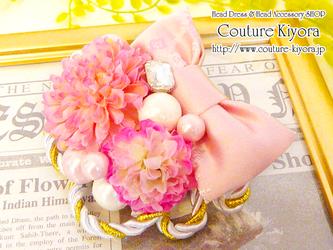 和のリボンのヘッドドレス・ピンクの画像