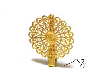 花柄透かし ワニ口クリップ 10個 ゴールド 金色の画像