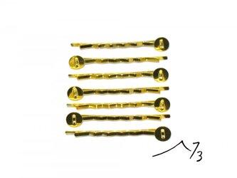 台座付ヘアピン 20本 ゴールド 金色の画像
