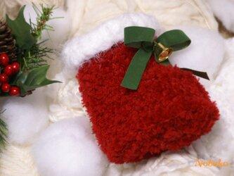 プレゼントに!小さな手編みサンタブーツの画像