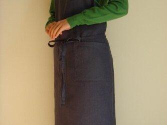 ☆リネン:丈83cm ネイビーパープルのエプロン☆の画像