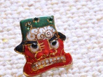 七宝焼ピンブローチ(ピンバッジ,ピンズ) 獅子舞(2)の画像