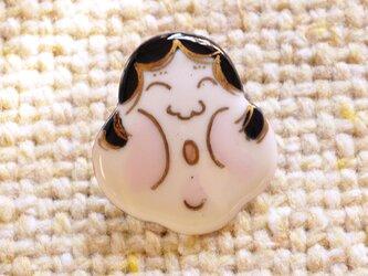 七宝焼ピンブローチ(ピンバッジ,ピンズ) お面 おかめの画像