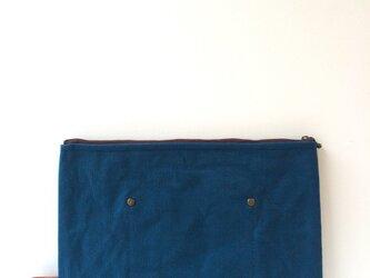 帆布×本革 ワイルドクラッチ navygreenの画像