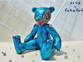 羊毛フェルトフェイス ヘビ柄テディベアの画像