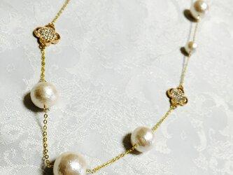コットンパールのネックレス ピンクゴールドの画像