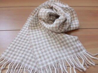 手織り かろやかふんわりマフラー 格子柄の画像