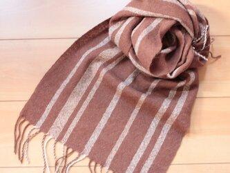 手織り アルパカのマフラー 焦げ茶にラインの画像
