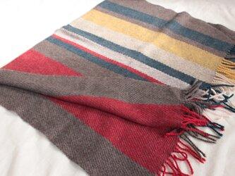 手織り ひざ掛け ブランケット   ブラウン系 の画像