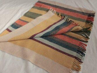 手織り ひざ掛け ブランケット   ベージュ系 縦縞 多色の画像