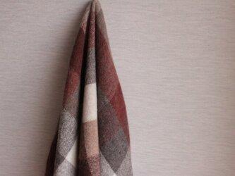 手織り ウール、アルパカ、キャメル素材を使ったブランケット   ブロック柄 の画像