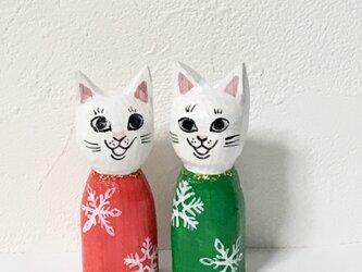 木彫りの猫 Xmasセットの画像