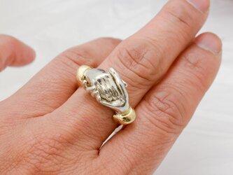 【受注製作】重なり合う手の指環 Silver950-K18の画像