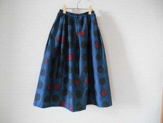 再販★藍大島リメイクスカート★赤い水玉模様の画像
