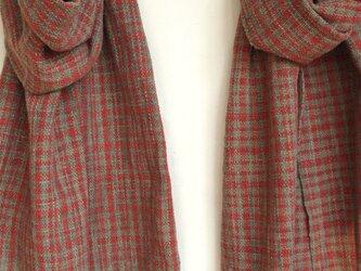 【再販】茜格子の手織りあたたかストールの画像