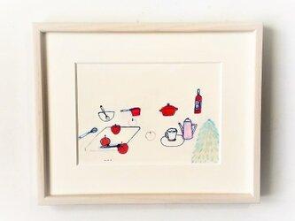 「宴のしたく」イラスト原画/額縁入りの画像