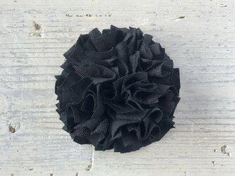 コットンリネンとラメチュールのひらひらシュシュ/ブラックの画像