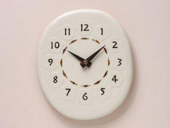 亀甲・楕円 220(陶製掛時計)の画像