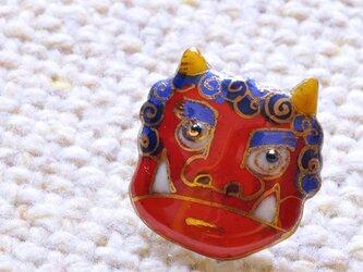 七宝焼ピンブローチ(ピンバッジ,ピンズ)  赤鬼の画像